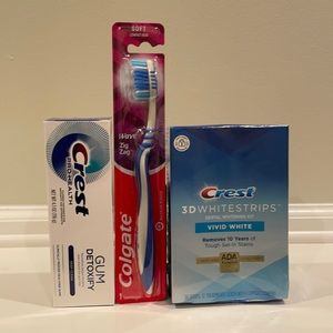 Crest whitening strips, toothbrush and gum detoxify toothpaste